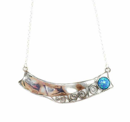 Oblong Silver Opal Necklace