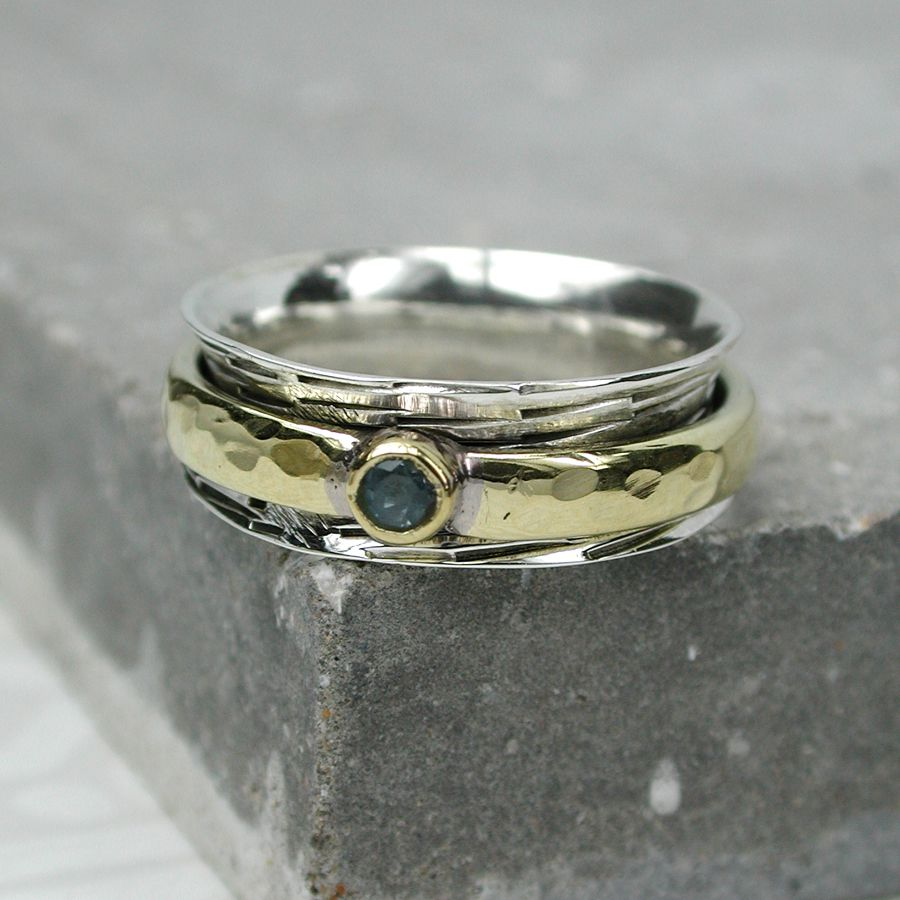 Silver Topaz Spinning Ring