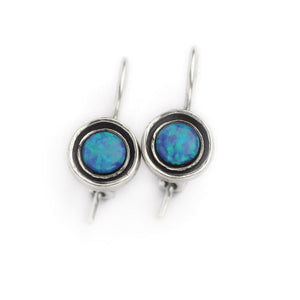 Silver Drop Opal Earrings