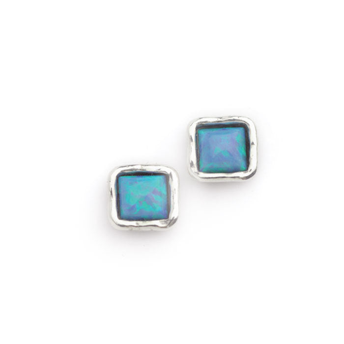 Silver Square Opal Stud Earrings