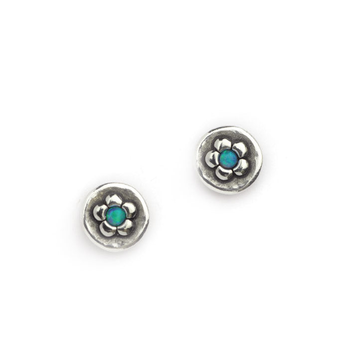 Silver Flower Opal Earrings