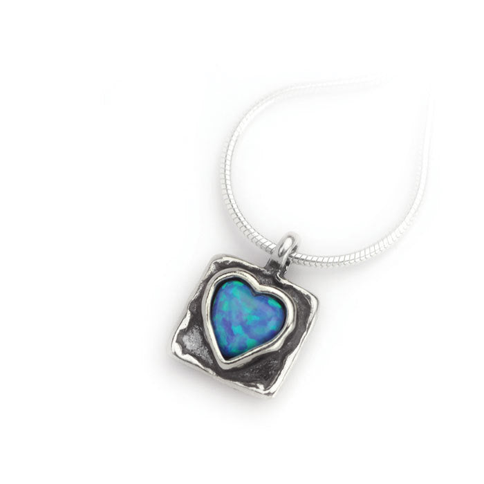 Silver Square Heart Necklace