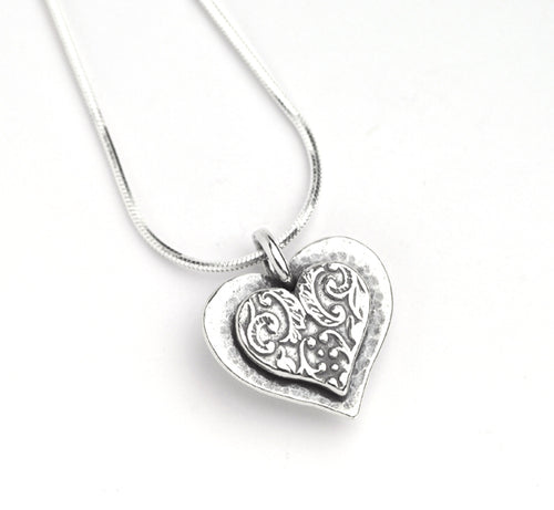 Silver Intricate Heart Necklace