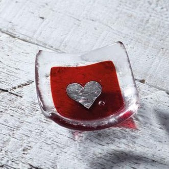 Red Silver Heart Earring Dish