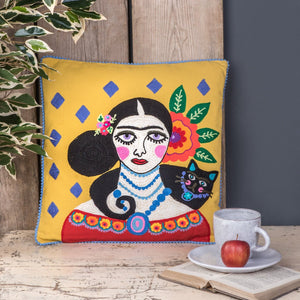 Yellow Frida Kahlo Cushion