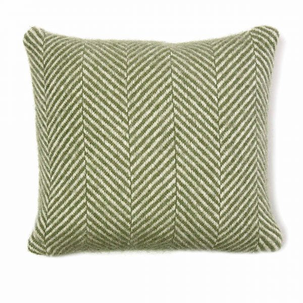 Olive Fishbone Wool Cushion