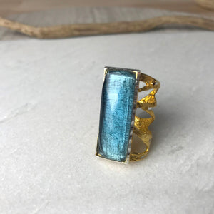 Blue Quartz Rectangular Ring