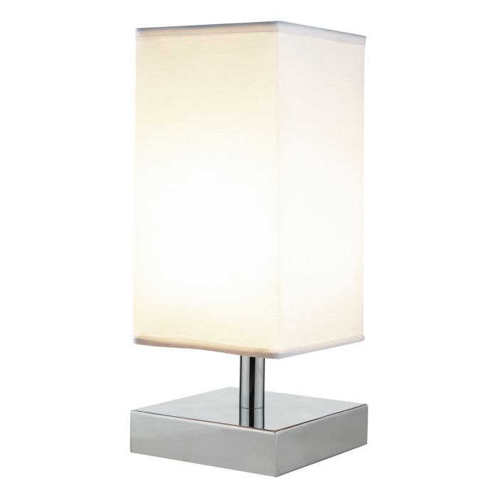 Chrome Square Touch Lamp (White Shade)