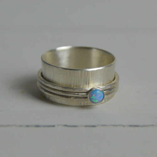Silver Opal Spinning Ring