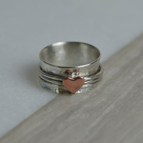 Silver & Copper Heart Spinning Ring