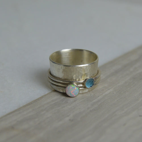 Opal & Topaz Spinning Ring - Made to order