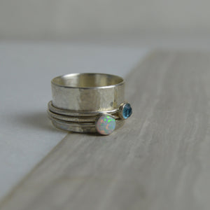 Opal & Topaz Spinning Ring