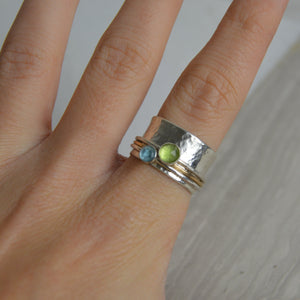 Peridot & Topaz Spinning Ring - Made to order