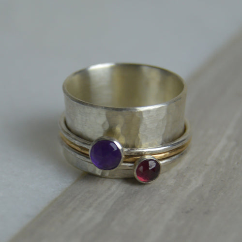 Amethyst & Garnet Spinning Ring -Made to Order