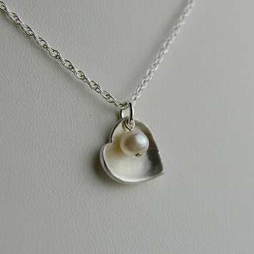 White Pearl Heart Necklace