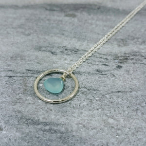 Aqua Stone Hoop Necklace