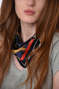 Navy Blue Square Silk Scarf