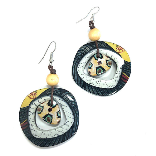 Lantana Earrings – Black/Yellow Mix