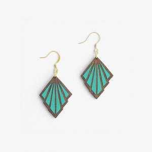 Teal Art Deco Drop Earrings