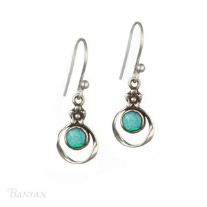 Oxidised Opal Earrings