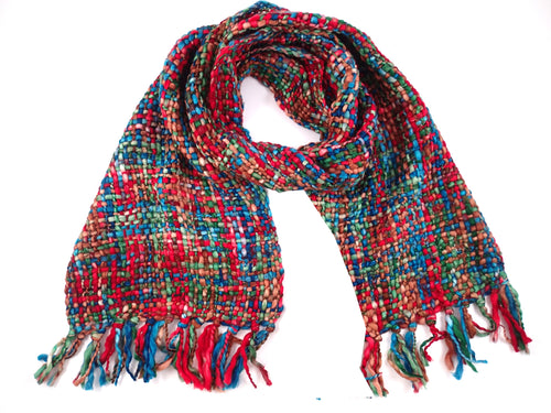 Red & Blue Chunky Tweed Scarf