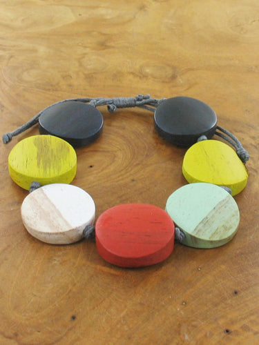 Multi Colour Wooden Pebble Bracelet