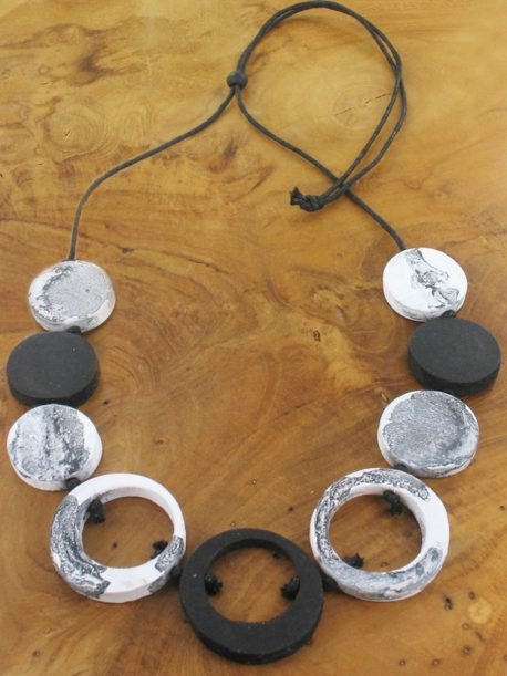 Black And White Painted Disc Necklace