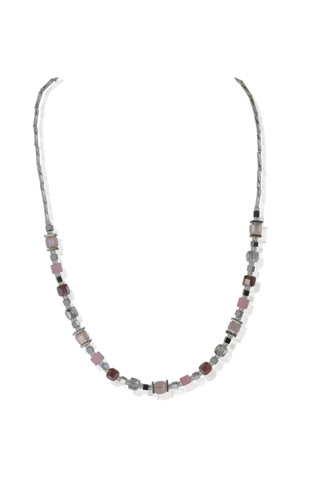 Pink and Lilac Glass Necklace