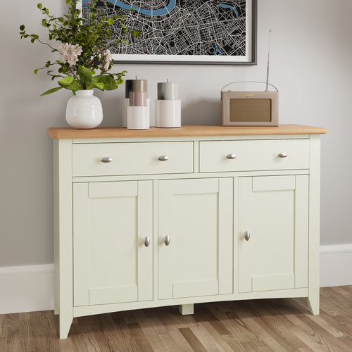 Painted White 3 Door Sideboard