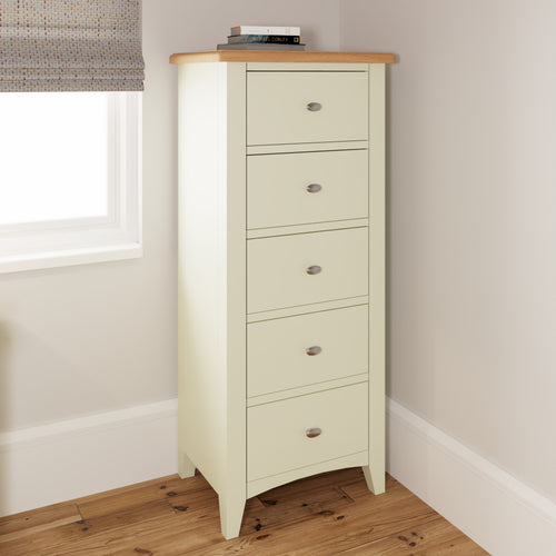 Painted White 5 Drawer Narrow Chest