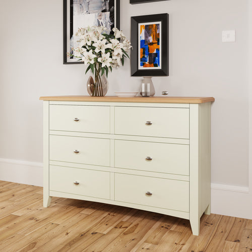 Painted White 6 Drawer Chest