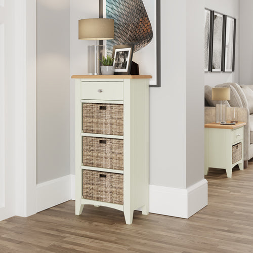 Painted White 1 Drawer 3 Basket Unit
