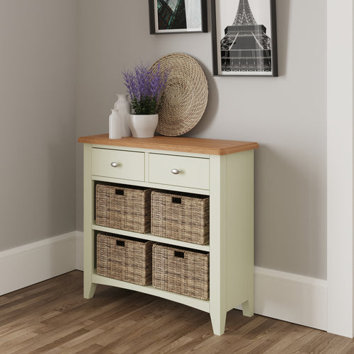 Painted White 2 Drawer 4 Basket Unit