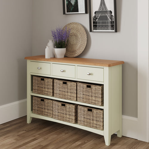 Painted White 3 Drawer 6 Basket Unit