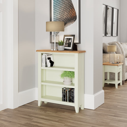 Painted White Small Wide Bookcase