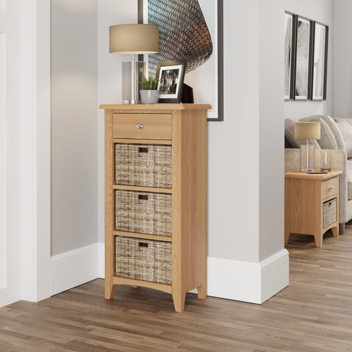 Light Oak 1 Drawer 3 Basket Unit
