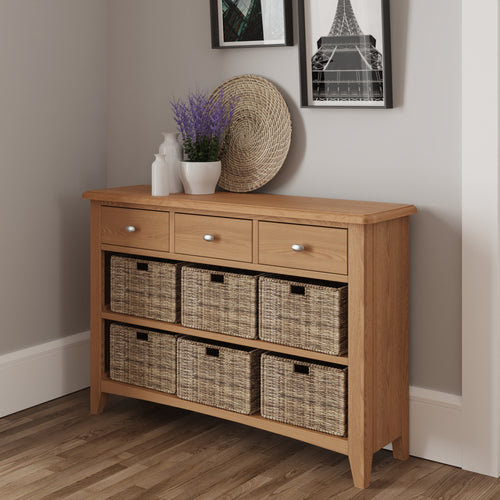 Light Oak 3 Drawer 6 Basket Unit