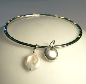 Silver And Pearl Charm Bangle
