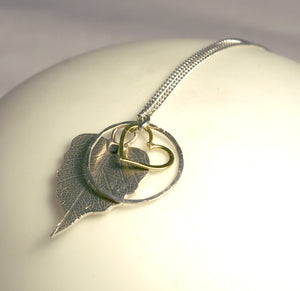 Gold Plated Heart/Silver Hoop Leaf Pendant