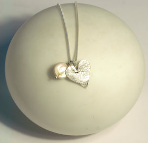 Heart & White Pearl Necklace