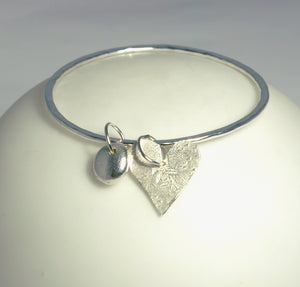 Silver Heart & Nugget Charm Bangle