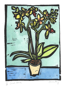 """Small Orchids"" Lino Cut Framed Print"