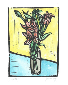 """Lillies"" Lino Cut Framed Print"