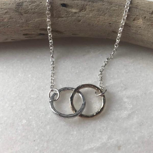 Gold And Silver Interlinked Halo Necklace