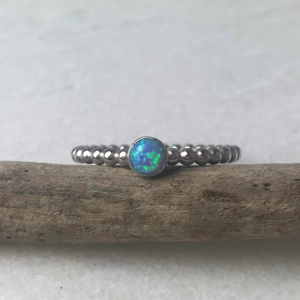 Blue Opal Beaded Ring