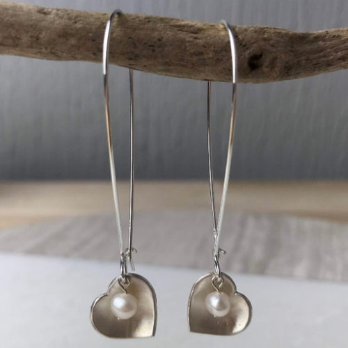 Cream Pearl Heart Earrings