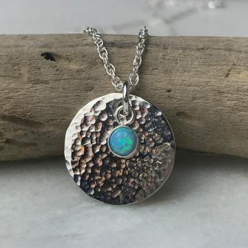 Blue Opal Disc Pendant