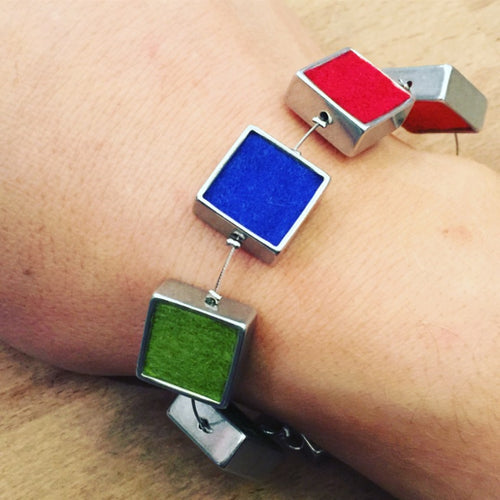 Mulit-coloured Felt Square Bracelet