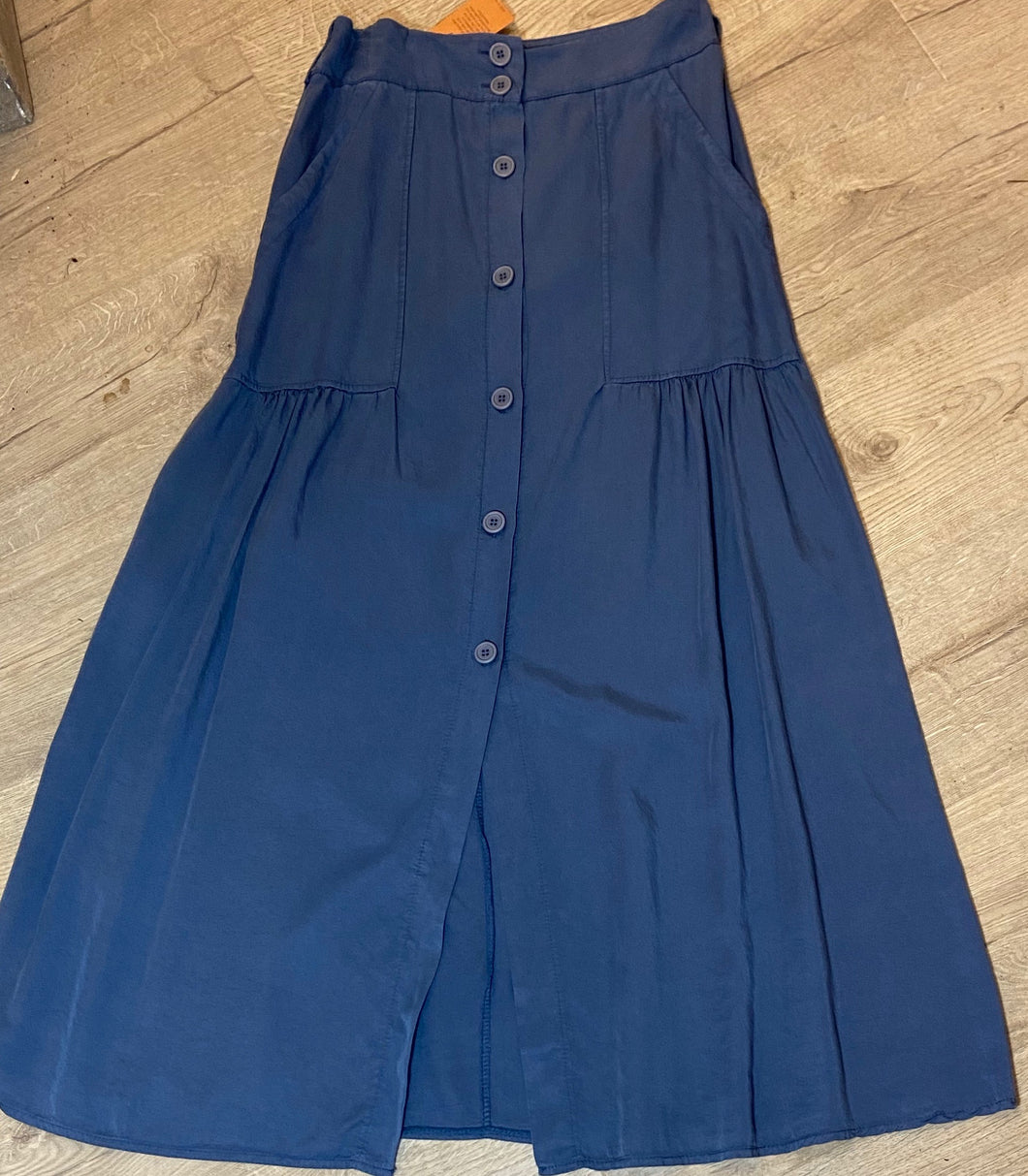 Navy Button Through Maxi Skirt