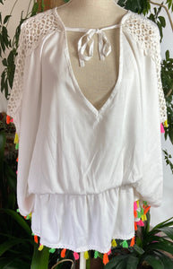 White Tassled Kaftan